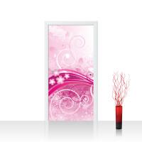 Türtapete - Pink Floral Ornaments Ornamente Blumen Orchidee Rot Blumenranke | no. 95