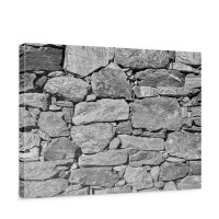 Leinwandbild Black and White Stone Wall Steinmauer Steine Steinwand Steinoptik 3D | no. 8